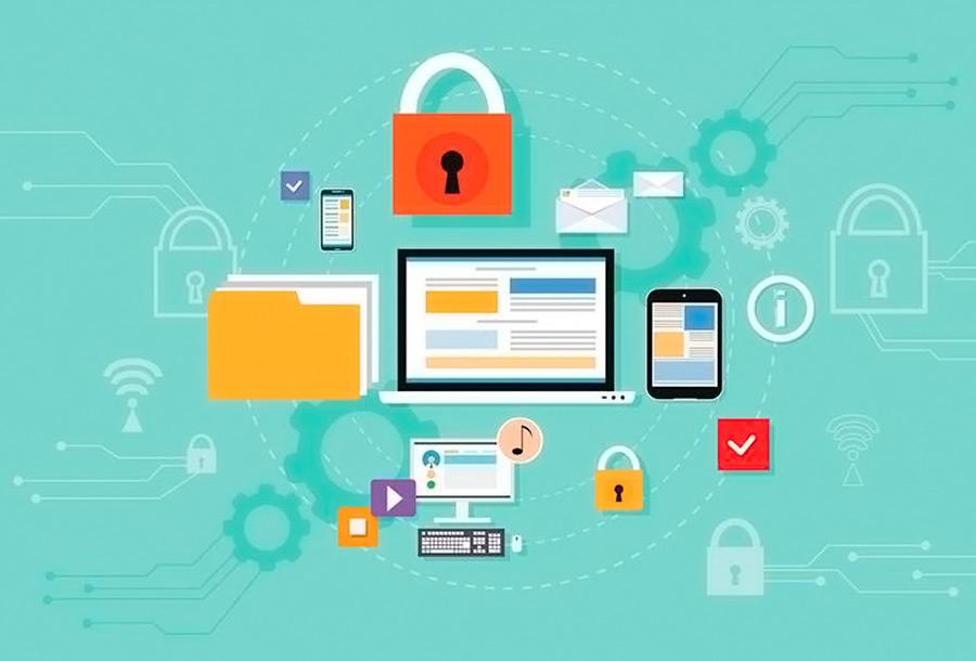 illustrasjon av hacker og den digitale sky