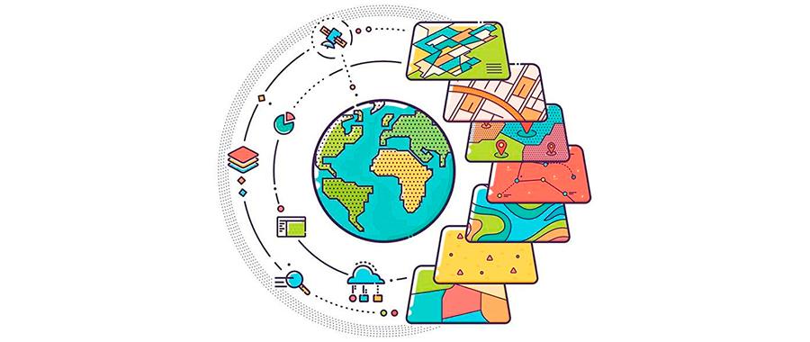 illustrasjon jordkloden, satelitt, digitale kart