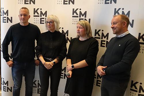Værnes Respons, vinner av Fyrlyktprisen 2020: Lars Tore Hallan, Elin Wikmark Darell, Solrunn Hårstad og Trond Lundemo fotografert på Kimen kulturhus, Stjørdal