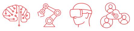 teknologiradar ikoner: AI, Robotics, Blockchain, VR, Digital samhandling