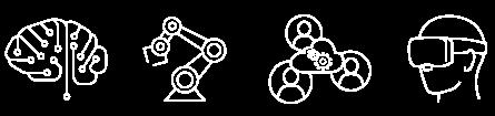 Teknologiradar ikoner: AI, Robotocs, VR/AR, Digital samhandling